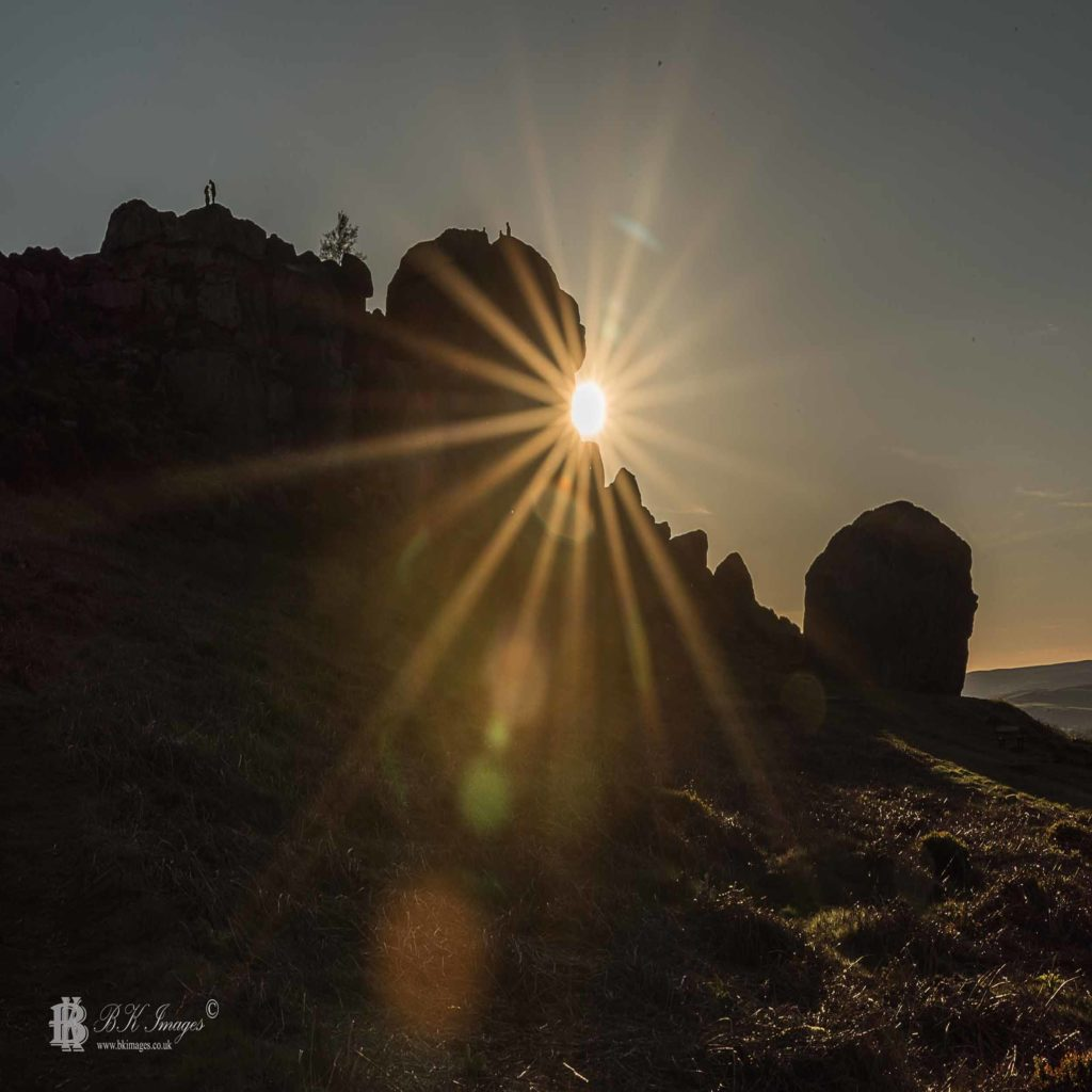 Cow and Calf Rocks, Ilkley Moor, West Yorkshire at sunset